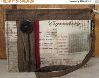 CIJSALE Wallet  Cupcake Recipe Print Inside Pockets Zipper Closure Wristlet