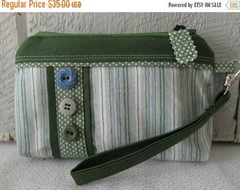 CIJSALE Modern Green Blue Gray White Striped Polka Dotted Button Accented Zippered Wallet Pouch Credit Card Pockets Wristlet