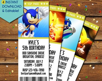 Sonic the Hedgehog Invitations, Sonic the Hedgehog Birthday Invitation, Sonic the Hedgehog Party Invite, Sonic Invitations, Sonic Birthday