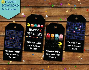 Pacman Thank You Tags, Pacman Party Favors, Pacman Birthday Tags, Pacman favor tags, Pacman party tags, gift tags, Video Game tags, Arcade
