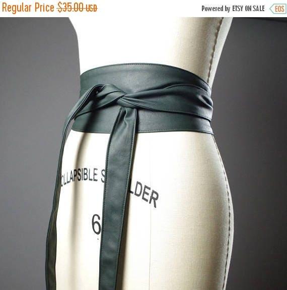 ON SALE Vegan Leather Obi Belt - Green Leather Obi Belt - Women's Wrap Belt - Up-cycled Obi Belt
