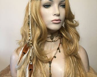 Bohemian Bridal Moonstone Feather Headpiece