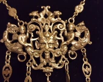 Astonishing Fratelli Coppini Vintage Necklace, 800 Silver, Horned Devil