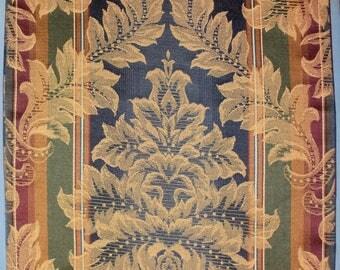 82 x 13 Elegant Formal Rectangular Table Runner~Gold Navy Burgundy Damask Brocade