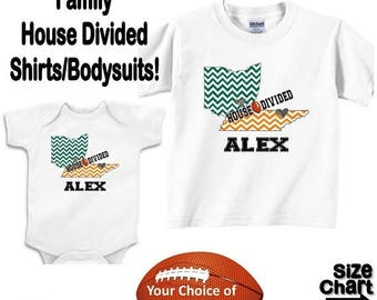 SALE Personalized House Divided Football Ohio Tennessee Love Family Baby Kids Adults T-shirt Bodysuit - Your Choice of States & Colors