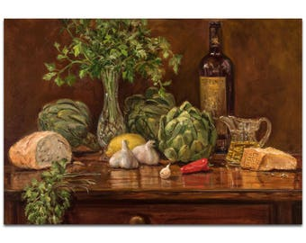 Traditional Wall Art 'Artichoke' by Trish Savides - Still Life Decor Country Rustic Kitchen Artwork on Metal or Plexiglass