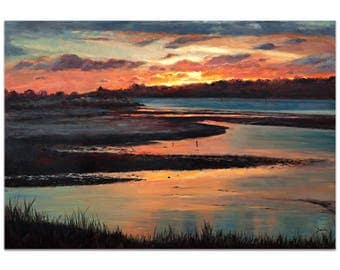 Traditional Wall Art 'Sunset' by Trish Savides - River Landscape Decor Country Rustic Sunset Artwork on Metal or Plexiglass
