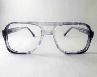 Tortoise Aviators, Big Boxy Mens Eyeglasses, Vintage Gray Glasses, Tortoise Shell Glasses, New Old Stock Frames