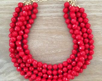 Statement Necklace Bridesmaid Jewelry NANTUCKET RED THE Nantucket Collection Red Necklace  Wedding Jewelry Statement Jewlery Necklace