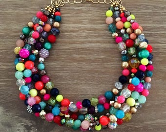 Statement Necklace Bridesmaid Jewelry CONFETTI NECKLACE  Wedding Jewelry Statement Jewlery Multi Color Necklace Colorful Necklace