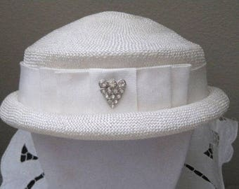Woven White Hat, Rhinestone Accent, Vintage Hat, Vintage Accessory