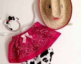 Cowgirl Crop Top and Bloomers,  Bandana Crop Top, Girls Crop Top, Crop Top Set, Toddler Crop Top, Baby Crop Top