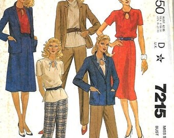 25% OFF McCall's 7215 MissesJacket, Top, Skirt And Pants Pattern, 8, 10, 18, 20 & 24, UNCUT