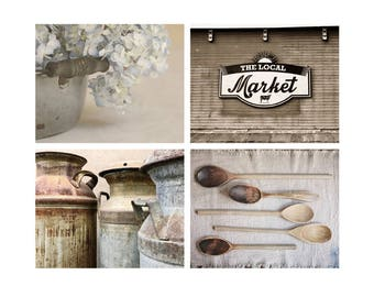 Kitchen Print Set, Neutral Wall Art, Modern Rustic Farmhouse Style, Fine Art Photography, Country Home Decor, Beige and Blue Wall Art