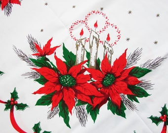 Vintage Christmas Tablecloth 1960s White Red Green with Poinsettia, Candles, Ribbon Swag, Holly Rectangle, Oblong 60 x 84 Never Used