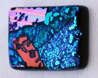 Dichroic Cabochon, Rectangle Cabochon, Fused Glass Cabochon, Dichroic Mosaic Tile, Accent Tile