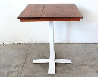 Bistro Table with Custom Base and Antique Oak Top