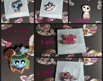 HALLOWEEN OFFER! Hand drawn printed needle minders. Kodama, vampire, witch, skull. 2 for fiver. Limited availability