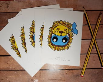 Whaley in a lion hat postcards! Available with copper foil highlights! Magic! Send some #happymail or frame!