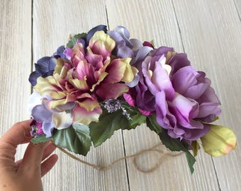 Purple Floral Crown with Wired Twine and Tieback Organic Boho - Maternity, Wedding, Bridal, Child Photo Prop - Ready to Ship