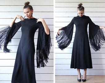 Rare vintage black kimono wide sleeve long fringe ankle length closed modest evening maxi dress S