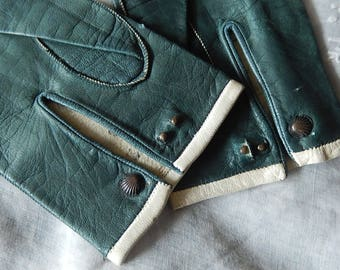 Antique French early 19th century girl's green gloves Jane Austen era collectors handmade kid leather early 1800's