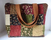 Large patchwork tote bag, Moose on the loose, zipper closure mutiple pockets
