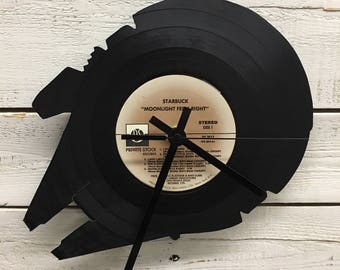 Millenium Falcon Clock | Vinyl Record • Upcycled Recycled Repurposed • Star Wars • Home Decor • Unique Gifts • Sillhouette • Shadow Art