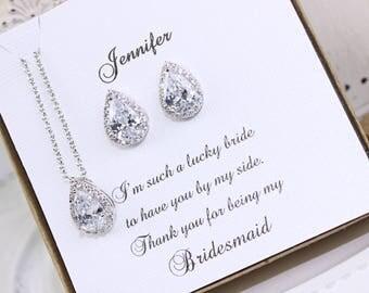 Bridal Jewelry Bridesmaid Jewelry Wedding Jewelry Cubic Zirconia Crystal Teardrop  Earrings and Necklace Bridesmaid Gift Wedding Gift
