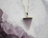 Genuine Amethyst Crystal Necklace Triangle Cut with 18K Gold Plated Chain - February Birthstone