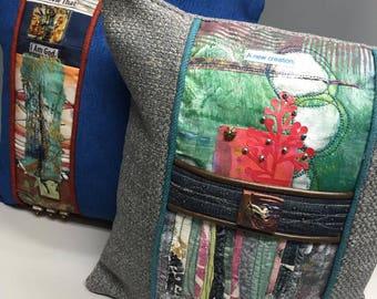 Prayer Pillow, Christian Art, Mixed Media, Scripture Pillow, Bible Verse Pillow, One-of-a-kind, throw pillow, home decor, Gift for Her