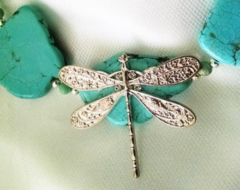 Necklace Handmade Turquoise Blue Slabs Silver Dragonfly Beaded Tiny Austrian Crystals Customized extender Big Chunky Bold Runway Boho Chic