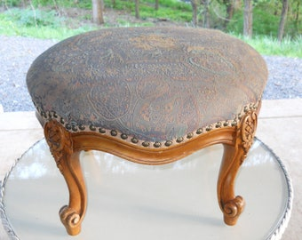 Antique 1910s Overstuffed Silk Upholstered Carved Wood Footstool Edwardian French Country Cottage Victorian Ottoman Footrest