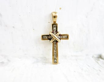 Small Vintage Gold Cross Pendant with Diamonds in 9k Gold