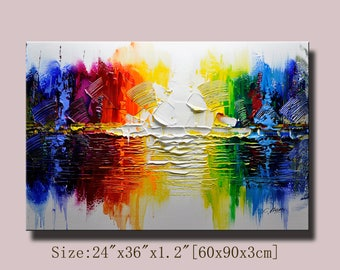 Abstract Wall Painting, expressionism Textured Painting,Impasto Landscape Painting  ,Palette Knife Painting on Canvas by Chen 0703