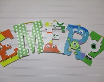 "EMERY - 12.00 PER letter, 8-1/2""  baby monsters bedding, wood letters, monsters theme, monsters incorporated, monsters, inc"
