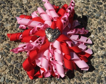 Hair Bow Clip - Pink and Red Valentines Love Ribbon Korker / Corker Hair Clip with Heart-shaped Charm