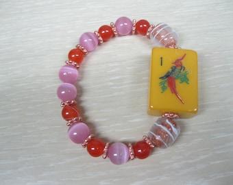 Mahjong beaded bracelet