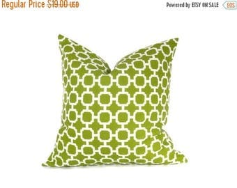 15% Off Sale OUTDOOR PILLOW, Green Pillow Cover  Decorative Throw Pillow Green White Housewares 20 x 20 Printed fabric both sides Cushion Co