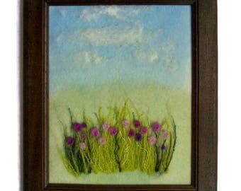 Fiber Art Wall hanging painting framed textile Felted picture