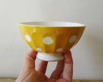 Vintage french LITTLE bowl, 1930, Digoin Sarreguemines, Yellow dots, Bol pois jaune ancien, France, Café au lait, Farm house, Kitchen