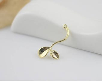 6pcs raw Brass plating gold  tree leaves