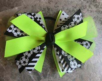 Soccer Bow - Soccer Ponytail - Neon Soccer Bow - Soccer Hairbow - soccer ribbon - soccer hair tie - team - streamer - Neon Lime Soccer bow