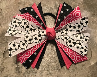 Soccer Bow - Soccer Ponytail - Pink Soccer Bow - Soccer Hairbow - soccer ribbon - soccer hair tie - streamer - Hot Pink Soccer bow - team