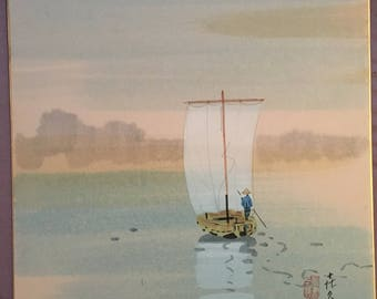 Japanese painting on Shikishi board, Boat on Lake.