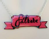 Fat Babe red ribbon necklace
