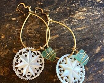 1stDayofSummerSALE MOP Sea Glass Earrings, Mother Pearl  Mermaid Beach Ocean Bliss!