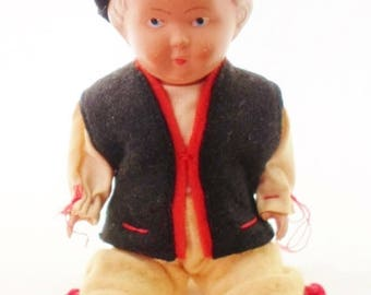 """ON SALE 1940s J.K. Kobe Denmark Celluloid International 6"""" Boy Doll, Original Clothes, Marked, Wool Clothes & Hat, Jointed, Blonde Molded Ha"""