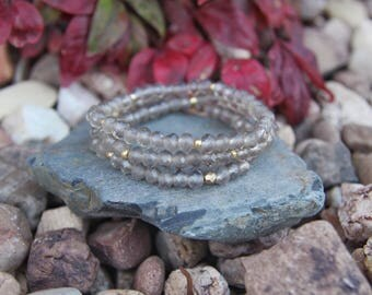 Irredencent gray crystal beaded bracelets
