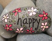 Happy Rock - happy - Hand-Painted Beach River Rock Stone - pink white fuchsia petunia pansy cosmos flower